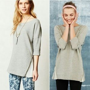 Anthropologie Zipper Chiffon Sweatshirt Pullover